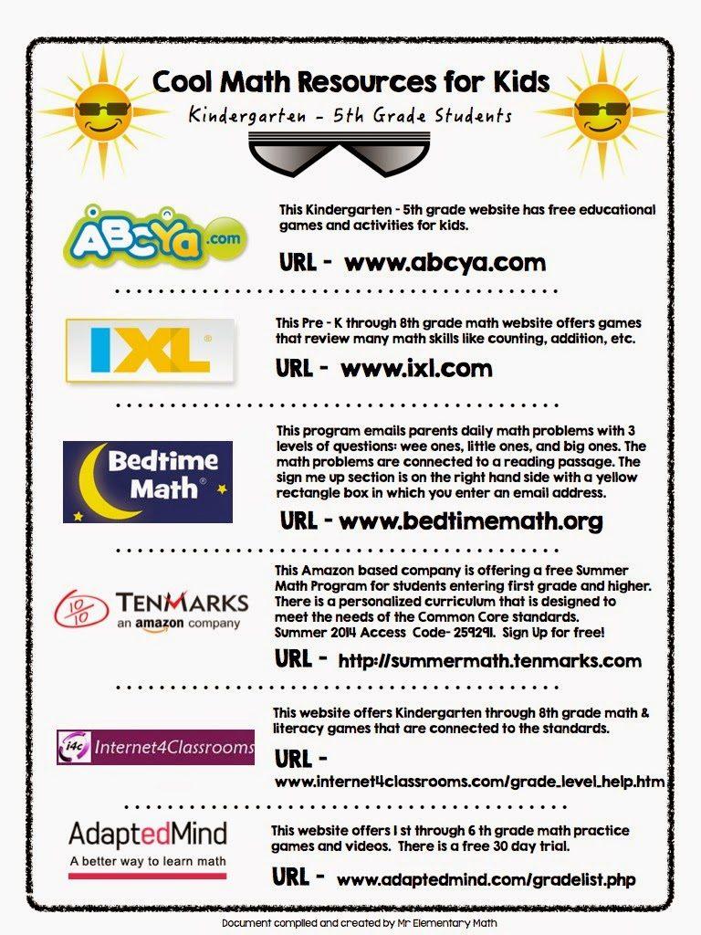 Cool Summertime Math Websites - Mr Elementary Math