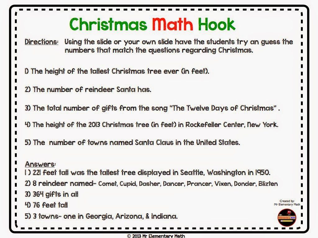 iHeart Math Holiday Hop - Mr Elementary Math