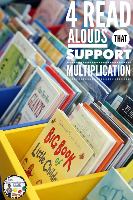 Read these 4 books to your students during math class to help introduce multiplication concepts.