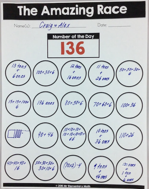 number of the day worksheet shows the number 136 with multiple representations