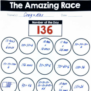 number sense routines amazing race number of the day worksheet