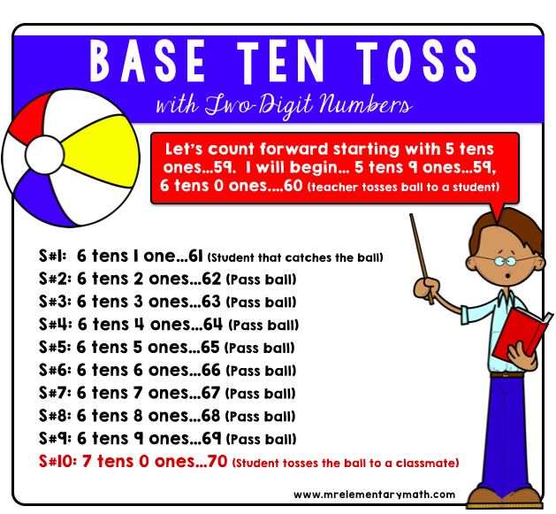 base ten toss routine using 2 digit numbers