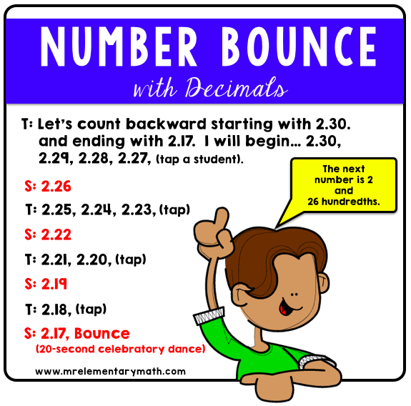 number bounce routine using decimals