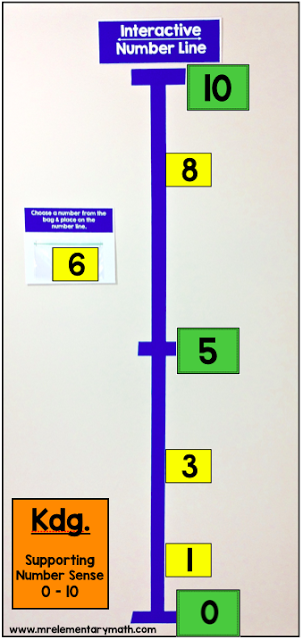 Interactive number line for teaching number sense with numbers 1 - 10