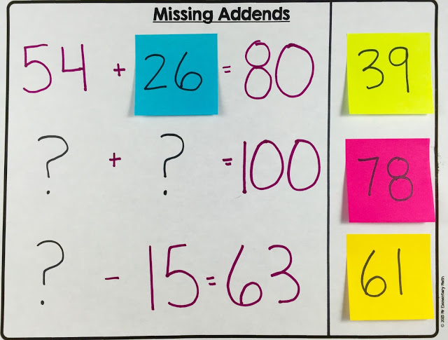 Teach missing addends with post-it notes