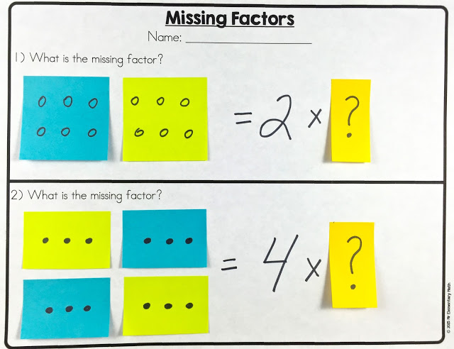 Teach factors with post-it notes