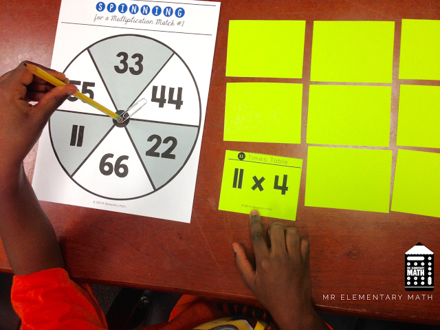 spin for a multiplication match game board and cards