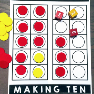 ten frame making tens game board