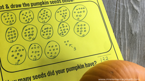 Pumpkin Math - count and draw pumpkin seeds to find out how many
