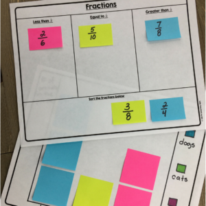 teach fractions and graphing with post it notes