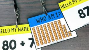 base ten math name tags on lanyards