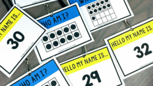 ten frame math name tags on lanyards