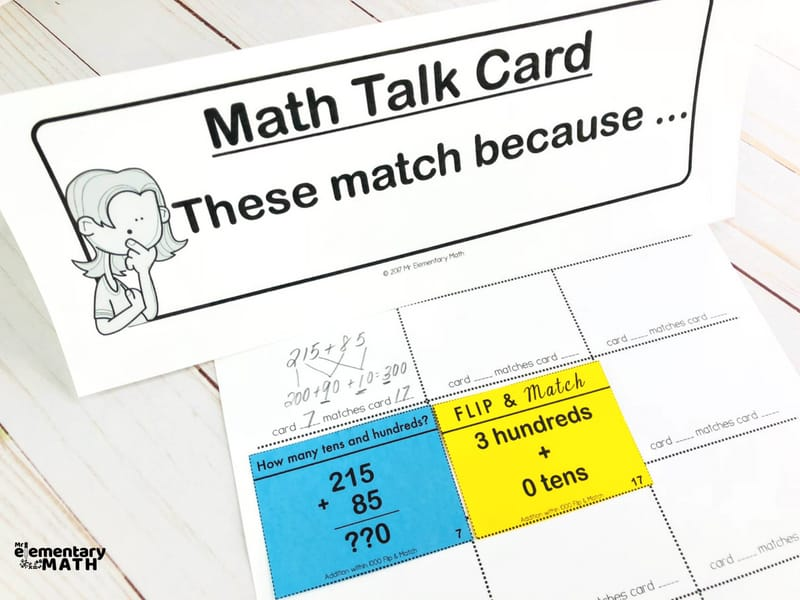 math centers with math talk sentence starters