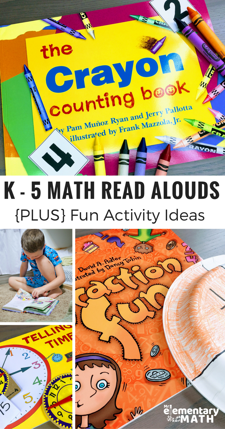 Want to get your kids interested in a new math topic? Check out my favorite Math Read Alouds for elementary students. I listed them by math skills like fractions, time, addition and more. PLUS there is an easy to implement extension activity idea listed for each book. #MathReadAlouds #MathBooks #MathActivities #Teachers