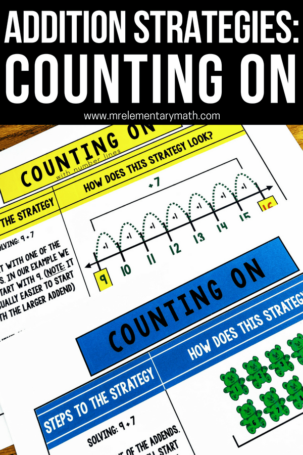 The Counting On strategy is a method young kids use to add numbers. Discover activities and ideas, like using manipulatives, number lines and anchor charts to help reinforce this addition strategy. #countingonstrategy #addition #additionstrategies #kindergarten #firstgrade #anchorcharts
