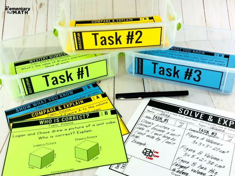 math problem solving activities task cards and recording sheets