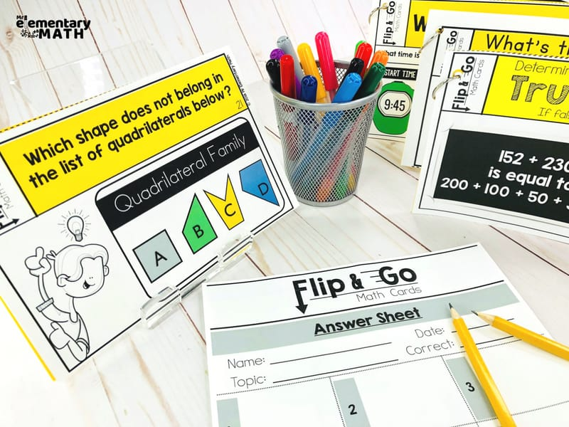 math task cards with recording sheet