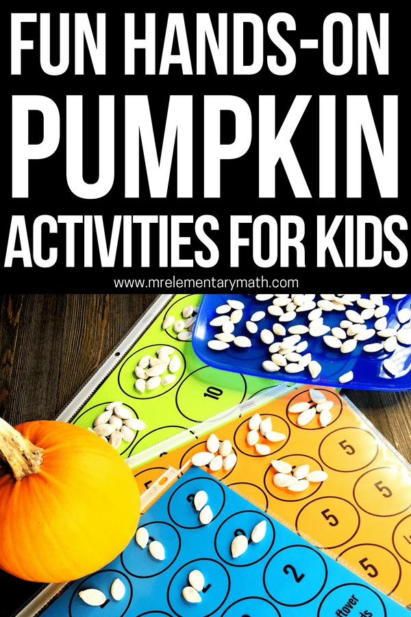 Fun hands-on pumpkin math activities for elementary kids