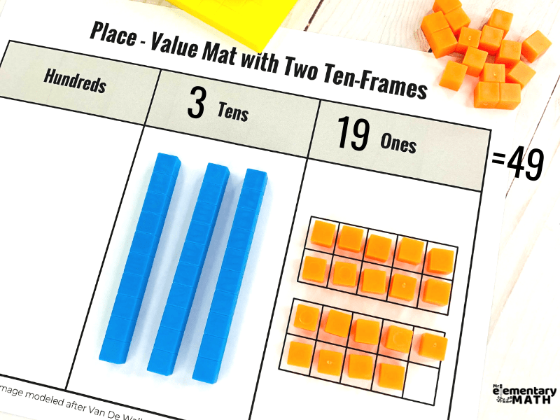 place value mat with base ten blocks