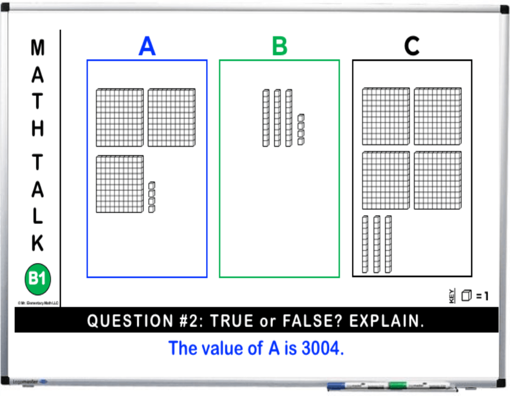 Place value math talk true and false activity