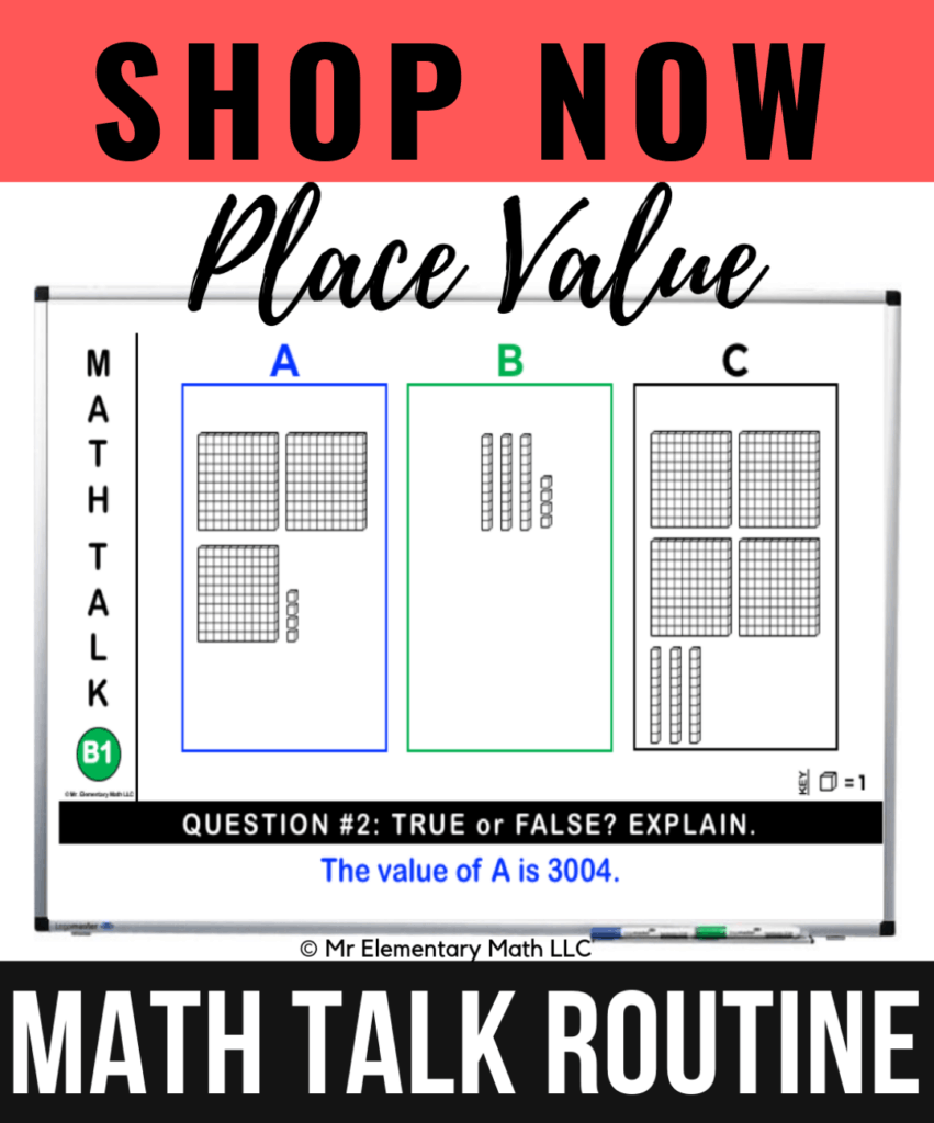 Place value math talk classroom routine shop now button
