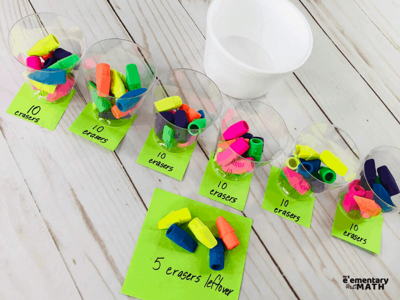 Sorting erasers by 10s and leftovers in classroom estimation activity
