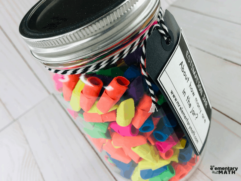 Classroom estimation activity with erasures in a mason jar