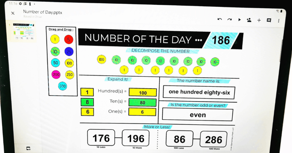 digital number of the day activity on a tablet