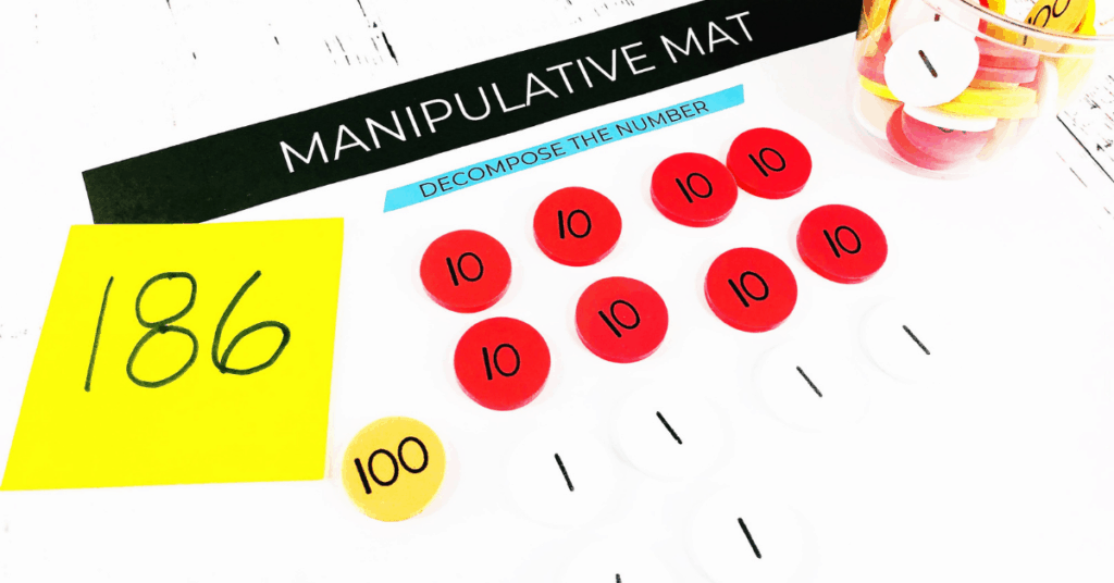 number of the day activity with a manipulative mat