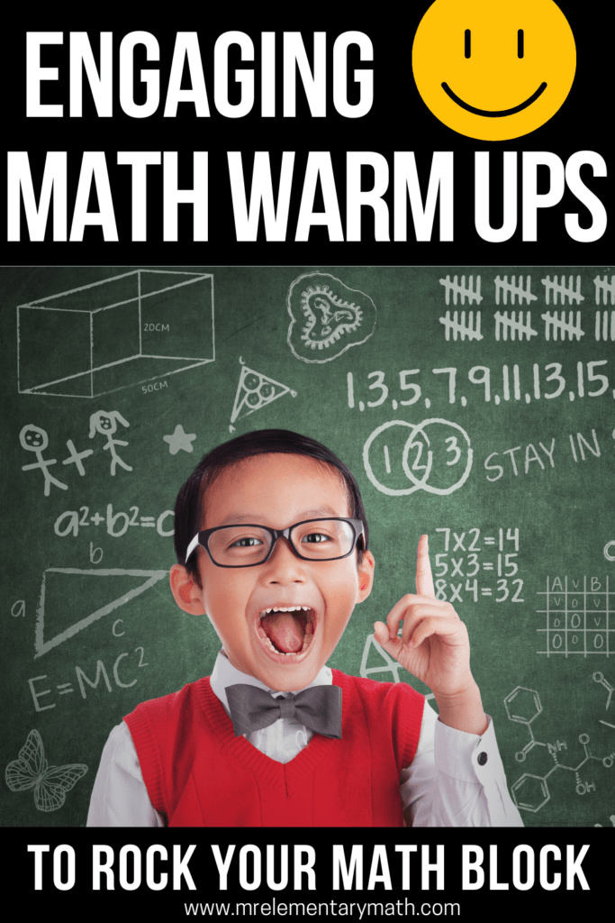 boy excited about math warm ups