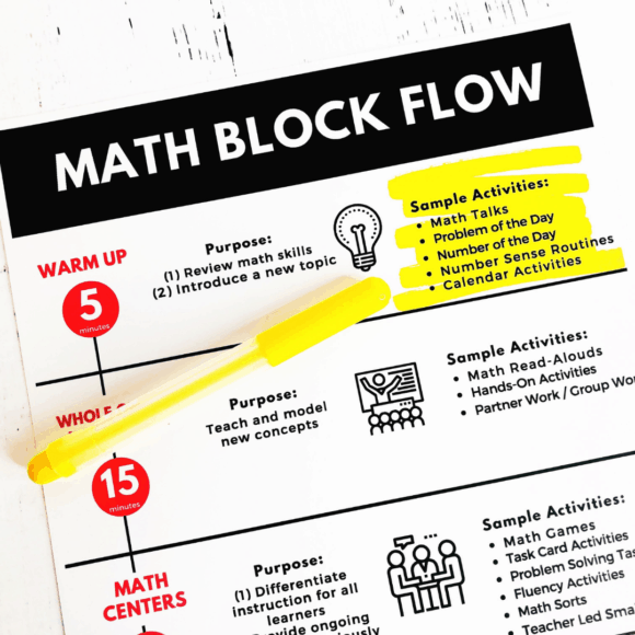 math warms up activities highlighted on the math block schedule