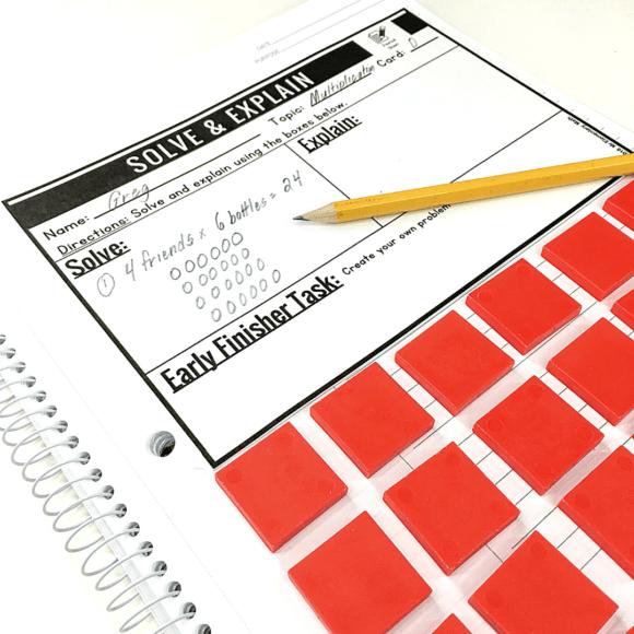 math problem in a spiral notebook