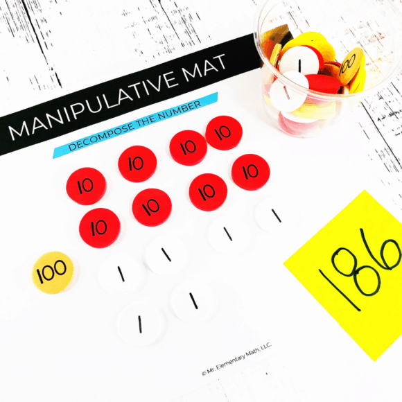 math manipulative mat with place value discs