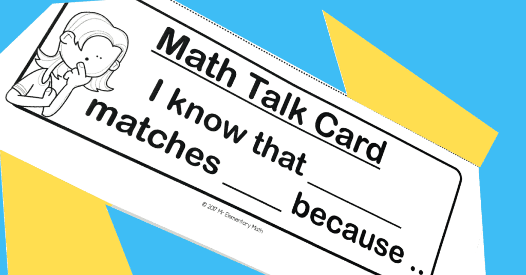 math talk card with sentence stem
